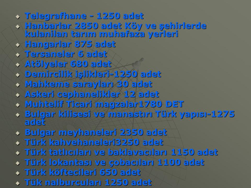 Telegrafhane - 1250 adet  Hanbarlar 2850 adet Köy ve şehirlerde kulanilan tarım muhafaza yerleri  Hangarlar 875 adet  Tersaneler 6 adet  Atölyel