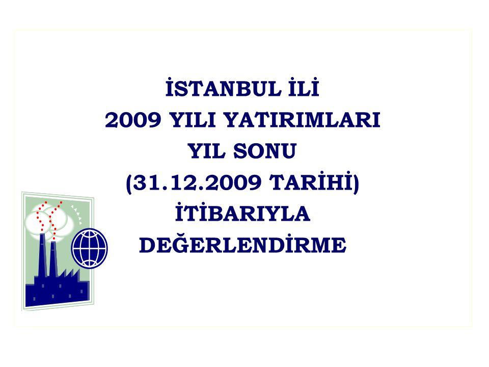 İSTANBUL İLİ 2009 YILI YATIRIMLARI YIL SONU (31.12.2009 TARİHİ) İTİBARIYLA DEĞERLENDİRME