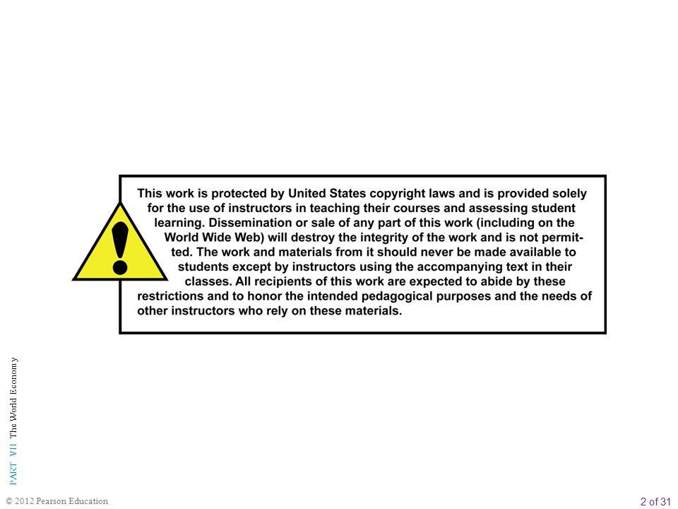3 of 31 PART VII The World Economy © 2012 Pearson Education BÖLÜM İÇERİĞİ 34 ULUSLARARASI T İ CARET, MUKAYESEL İ ÜSTÜNLÜK VE KORUMACILIK Ticaret Fazlaları ve Açıkları Ticaretin Ekonomik Temelleri: Mukayaseli Üstünlük Mutlak Üstünlüğe Karşı Mukayeseli Üstünlük Ticaret Hadleri Döviz Kurları Mukayaseli Üstünlüğün Kaynakları Heckscher-Ohlin Teoremi Gözlemlenen Ticaret Akımları için Diğer Açıklamalar Ticaret Engelleri: Tarifeler, İhracat Sübvansiyonları ve Kotalar A.B.D.