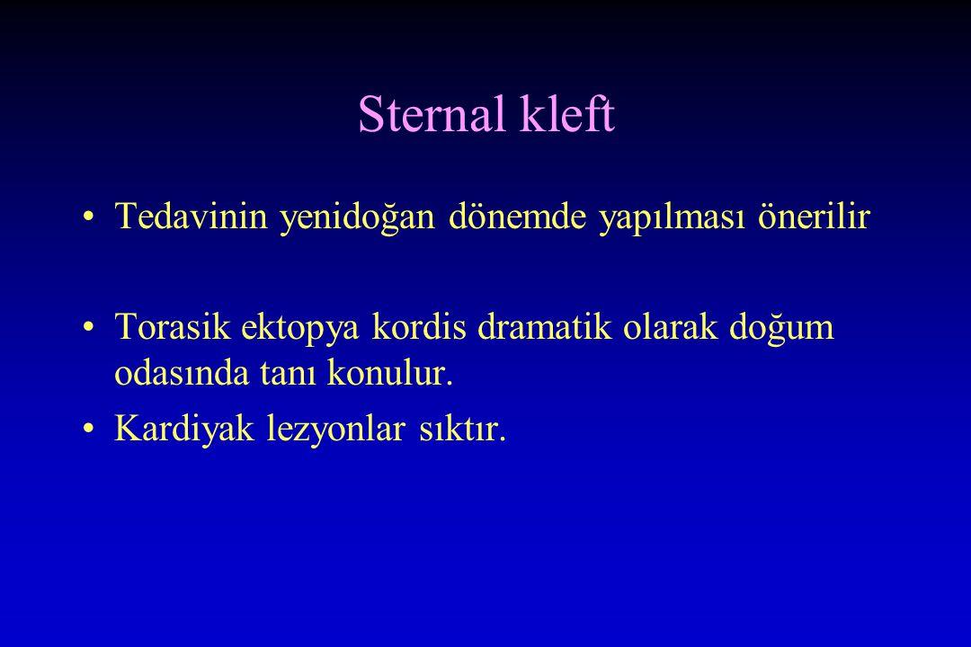 Sternal kleft Tedavinin yenidoğan dönemde yapılması önerilir Torasik ektopya kordis dramatik olarak doğum odasında tanı konulur. Kardiyak lezyonlar sı