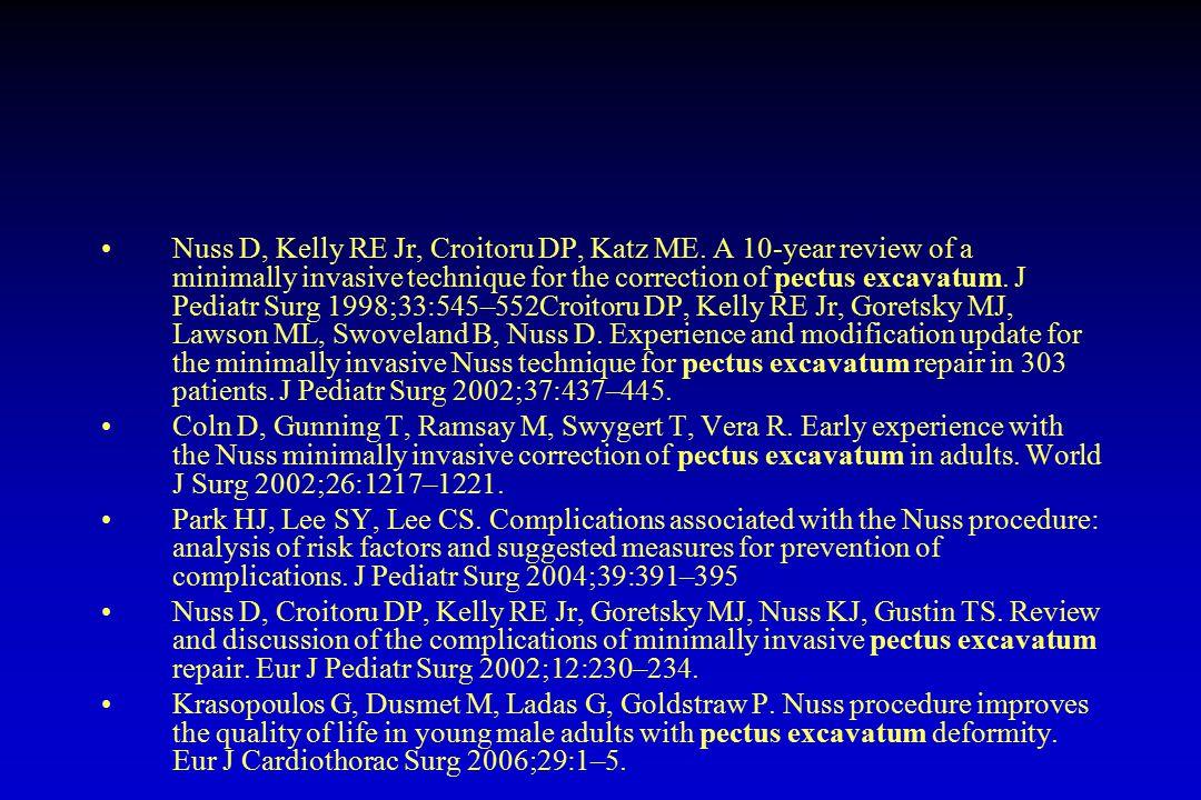 Nuss D, Kelly RE Jr, Croitoru DP, Katz ME. A 10-year review of a minimally invasive technique for the correction of pectus excavatum. J Pediatr Surg 1