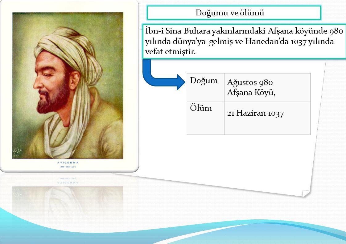 İbn-i Sina Buhara yakınlarındaki Afşana köyünde 980 yılında dünya'ya gelmiş ve Hanedan'da 1037 yılında vefat etmiştir. Doğumu ve ölümü Doğum Ağustos 9