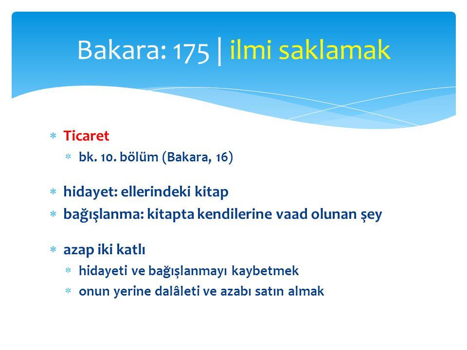  Ticaret  bk. 10. bölüm (Bakara, 16)  hidayet: ellerindeki kitap  bağışlanma: kitapta kendilerine vaad olunan şey  azap iki katlı  hidayeti ve b
