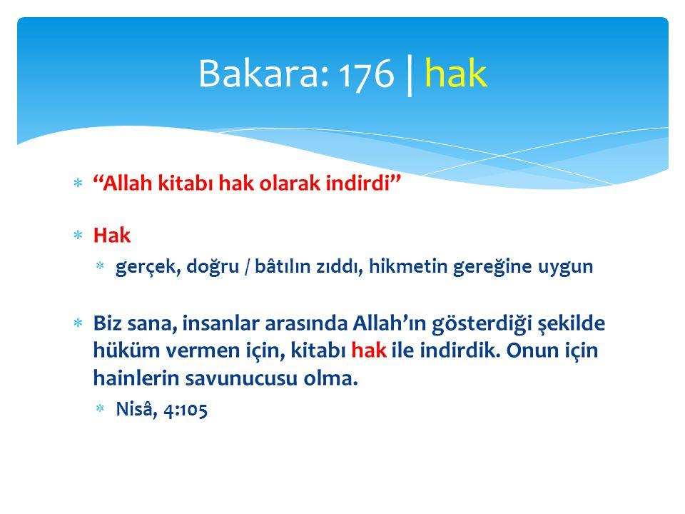 """ """"Allah kitabı hak olarak indirdi""""  Hak  gerçek, doğru / bâtılın zıddı, hikmetin gereğine uygun  Biz sana, insanlar arasında Allah'ın gösterdiği ş"""
