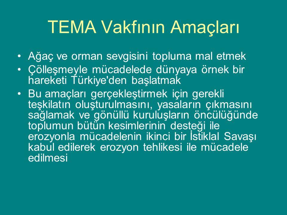 TEMA Vakfının Amaçları Ağaç ve orman sevgisini topluma mal etmek Çölleşmeyle mücadelede dünyaya örnek bir hareketi Türkiye'den başlatmak Bu amaçları g