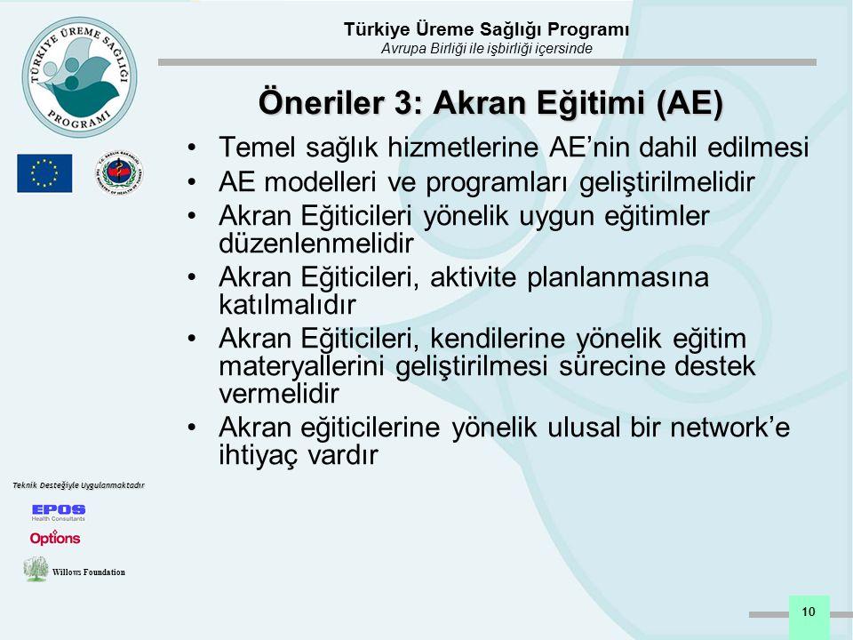 Türkiye Üreme Sağlığı Programı Avrupa Birliği ile işbirliği içersinde Willows Foundation Teknik Desteğiyle Uygulanmaktadır 10 Öneriler 3: Akran Eğitim