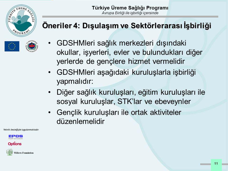 Türkiye Üreme Sağlığı Programı Avrupa Birliği ile işbirliği içersinde Willows Foundation Teknik Desteğiyle Uygulanmaktadır 11 Öneriler 4: Dışulaşım ve
