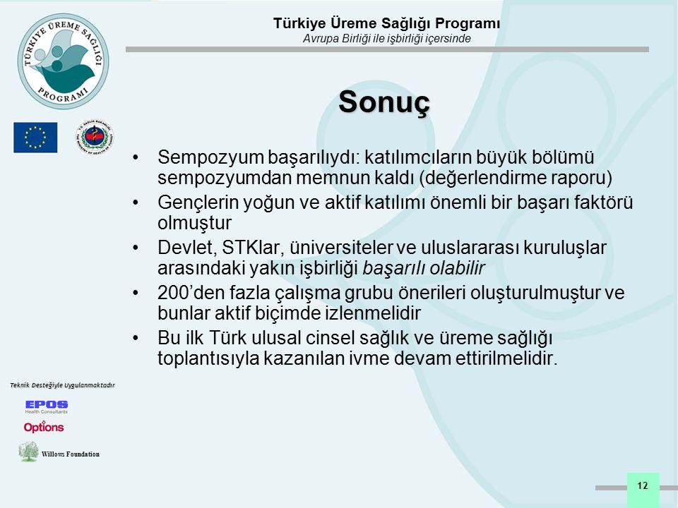 Türkiye Üreme Sağlığı Programı Avrupa Birliği ile işbirliği içersinde Willows Foundation Teknik Desteğiyle Uygulanmaktadır 12 Sonuç Sempozyum başarılı
