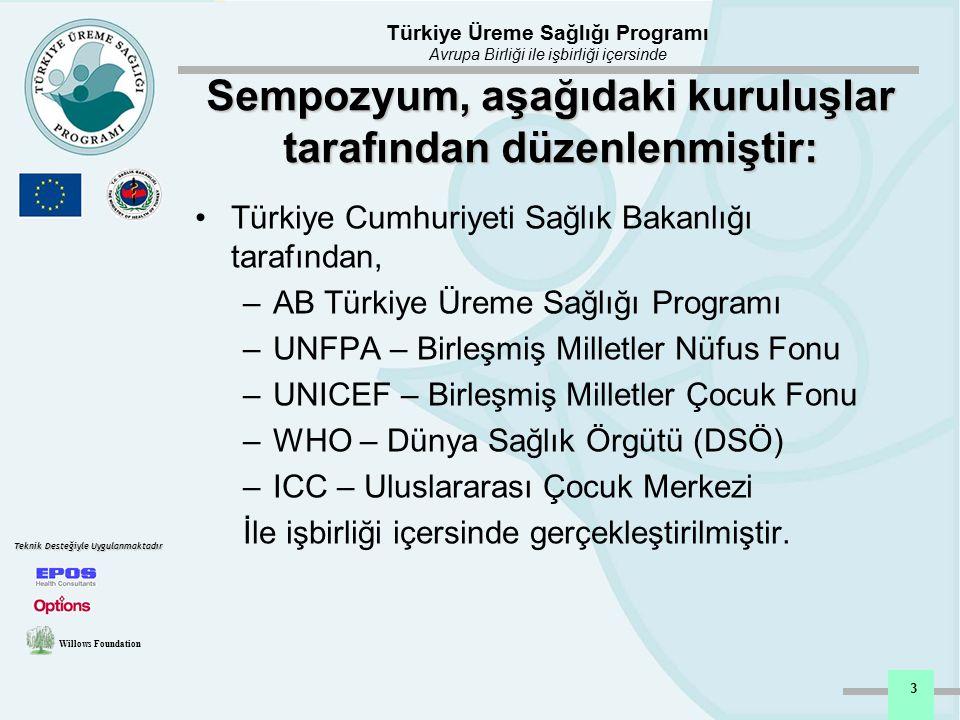 Türkiye Üreme Sağlığı Programı Avrupa Birliği ile işbirliği içersinde Willows Foundation Teknik Desteğiyle Uygulanmaktadır 3 Sempozyum, aşağıdaki kuru