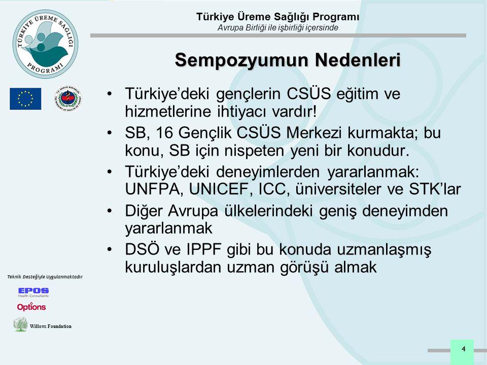 Türkiye Üreme Sağlığı Programı Avrupa Birliği ile işbirliği içersinde Willows Foundation Teknik Desteğiyle Uygulanmaktadır 5 Sempozyum Hedefleri Sempozyumda temel olarak Gençlerin CSÜS gereksinimlerini etkili biçimde ele alabilme konusunda Avrupa'da ve Türkiye'de edinilen bazı kilit dersleri paylaşmak; Türkiye'deki hükümet ve hükümet dışı kuruluşlar ile Avrupa'daki girişimler arasında genç dostu CSÜS'nin geliştirilmesi için işbirliğini canlandırmak; Genç dostu hizmetler ve ilgili aktiviteler arasında bir iletişim ağı kurmak; Türkiye'deki gençlik merkezlerinin daha da geliştirilmesi için öneriler getirmek; Türkiye'de gençlerin CSÜS hizmetlerinde çalışan bütün hizmet sunucuların motivasyon ve kapasite geliştirilmesini güçlendirmektir.
