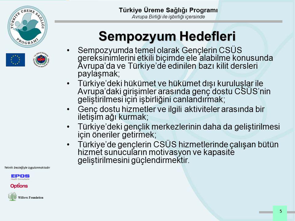 Türkiye Üreme Sağlığı Programı Avrupa Birliği ile işbirliği içersinde Willows Foundation Teknik Desteğiyle Uygulanmaktadır 6 Sempozyum Katılımcıları Gönüllü gençler / akran eğiticileri Uluslararası kuruluşlar, üniversiteler, STK ve diğer kuruluşlardan Türk uzmanlar DSÖ, IPPF ve Avrupa'da CSÜS alanında çalışan 6 ulusal STK'dan uluslararası uzmanlar Henüz eğitim almış Genç dostu CSÜS hizmet sunucuları Merkez ve yerel teşkilattan gelen SB çalışanlarının katılımıyla 200'den fazla katılımcı katılmıştır.