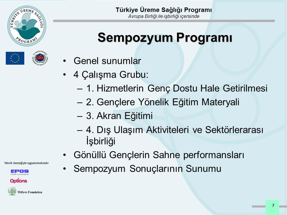 Türkiye Üreme Sağlığı Programı Avrupa Birliği ile işbirliği içersinde Willows Foundation Teknik Desteğiyle Uygulanmaktadır 8 Öneriler 1: Hizmetlerin Genç Dostu Hale Getirilmesi Ayrımcılık yapmayan (cinsiyet!) ve Önyargısız Gençlerin haklarına saygı duyan Gençlerin mahremiyet ve gizliliğe saygı duyan Gençlerin katılımını sağlamak Genç dostu bir ortam oluşturmak Erişilebilirliği sağlamak Klinik dışı hizmetlere yoğunlaşılması Bilgi ve eğitim materyali sağlamak