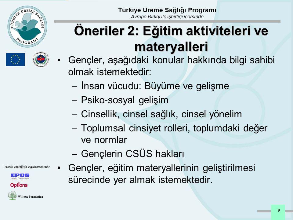 Türkiye Üreme Sağlığı Programı Avrupa Birliği ile işbirliği içersinde Willows Foundation Teknik Desteğiyle Uygulanmaktadır 10 Öneriler 3: Akran Eğitimi (AE) Temel sağlık hizmetlerine AE'nin dahil edilmesi AE modelleri ve programları geliştirilmelidir Akran Eğiticileri yönelik uygun eğitimler düzenlenmelidir Akran Eğiticileri, aktivite planlanmasına katılmalıdır Akran Eğiticileri, kendilerine yönelik eğitim materyallerini geliştirilmesi sürecine destek vermelidir Akran eğiticilerine yönelik ulusal bir network'e ihtiyaç vardır