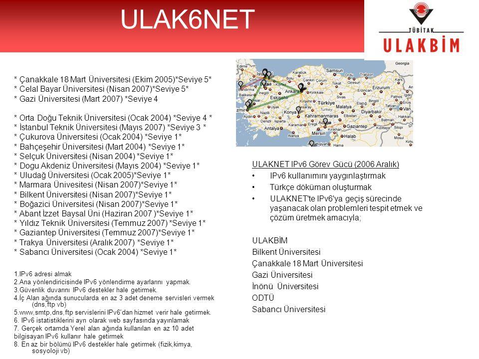 ULAK6NET * Çanakkale 18 Mart Üniversitesi (Ekim 2005)*Seviye 5* * Celal Bayar Üniversitesi (Nisan 2007)*Seviye 5* * Gazi Üniversitesi (Mart 2007) *Sev