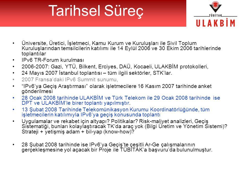 Üniversite, Üretici, İşletmeci, Kamu Kurum ve Kuruluşları ile Sivil Toplum Kuruluşlarından temsilcilerin katılımı ile 14 Eylül 2006 ve 30 Ekim 2006 tarihlerinde toplantılar IPv6 TR-Forum kurulması 2006-2007: Gazi, YTÜ, Bilkent, Erciyes, DAÜ, Kocaeli, ULAKBİM protokolleri, 24 Mayıs 2007 İstanbul toplantısı – tüm ilgili sektörler, STK'lar.
