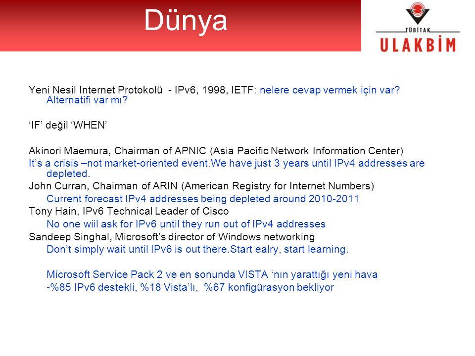 Yeni Nesil Internet Protokolü - IPv6, 1998, IETF: nelere cevap vermek için var? Alternatifi var mı? 'IF' değil 'WHEN' Akinori Maemura, Chairman of APN