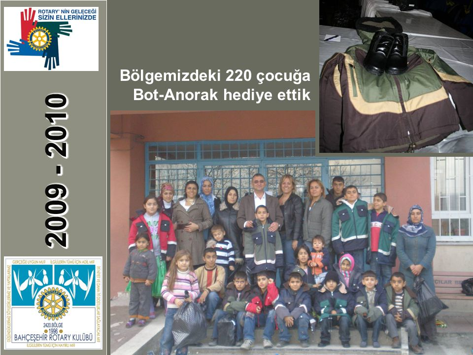 2009 - 2010 Bahçeşehir Cumhuriyet Kutlamaları Bölgemizdeki 220 çocuğa Bot-Anorak hediye ettik