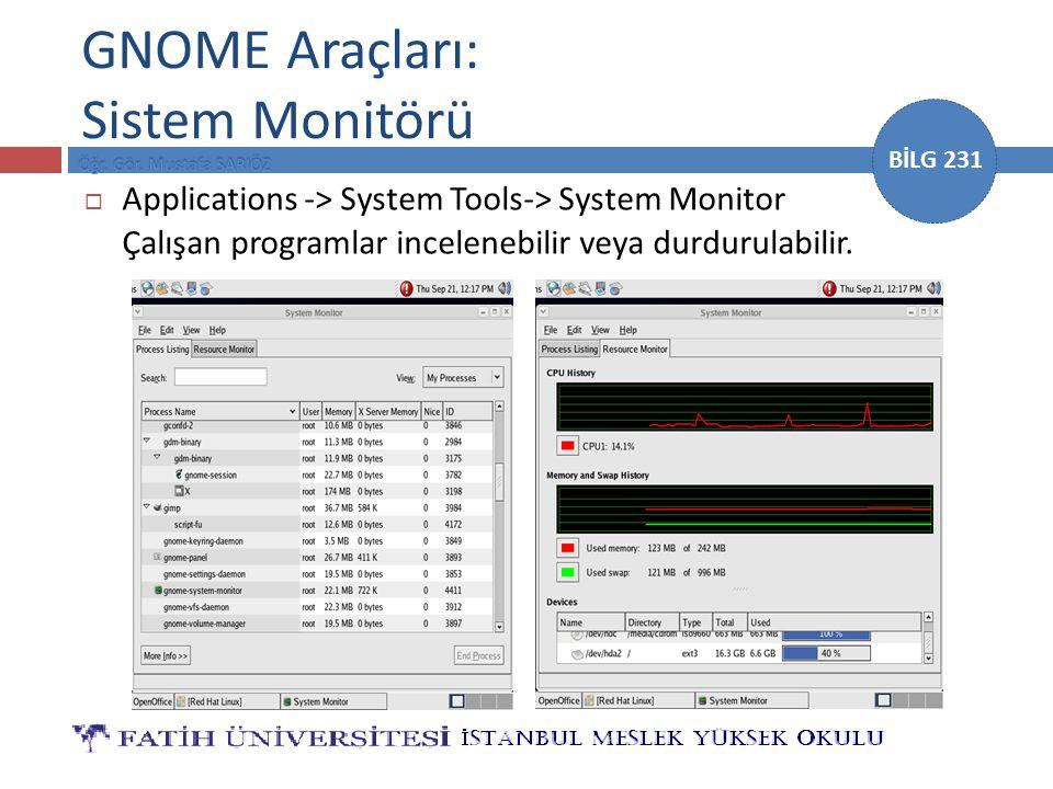 BİLG 231 GNOME Araçları: Sistem Monitörü  Applications -> System Tools-> System Monitor Çalışan programlar incelenebilir veya durdurulabilir.