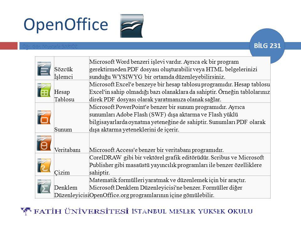 BİLG 231 OpenOffice Sözcük İşlemci Microsoft Word benzeri işlevi vardır. Ayrıca ek bir program gerektirmeden PDF dosyası oluşturabilir veya HTML belge