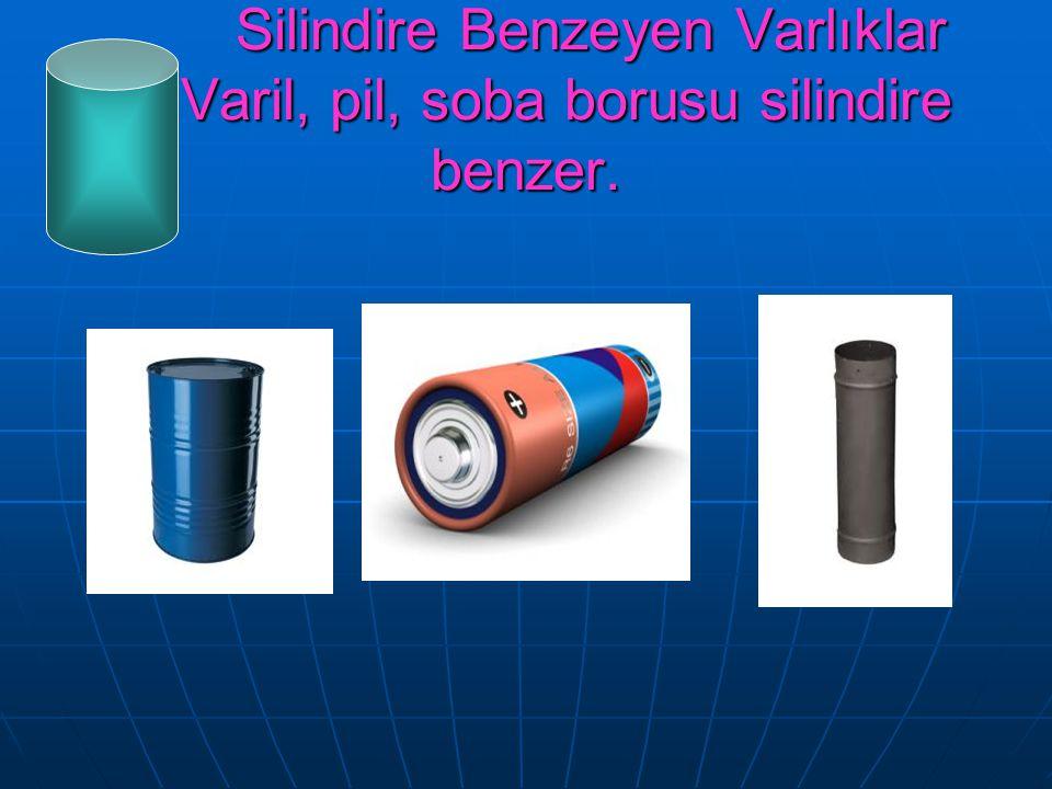 Silindire Benzeyen Varlıklar Varil, pil, soba borusu silindire benzer. Silindire Benzeyen Varlıklar Varil, pil, soba borusu silindire benzer.