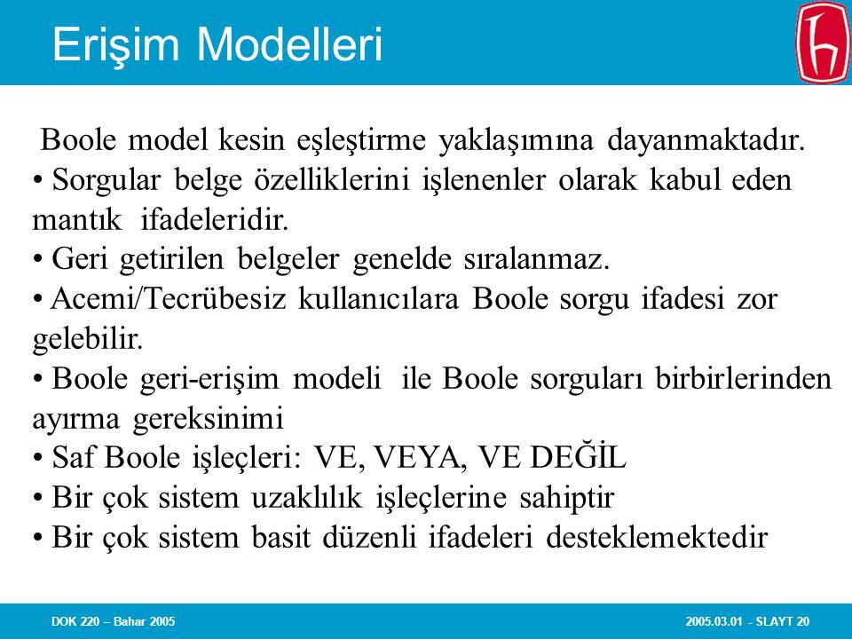2005.03.01 - SLAYT 20DOK 220 – Bahar 2005 Erişim Modelleri Boole model kesin eşleştirme yaklaşımına dayanmaktadır.