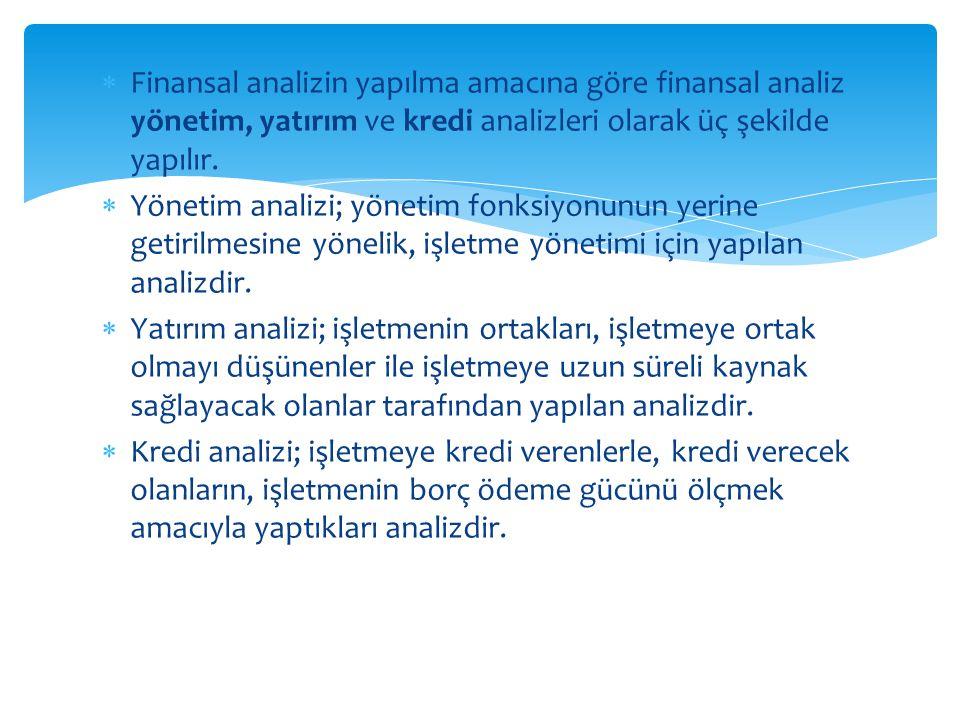  Finansal analizin yapılma amacına göre finansal analiz yönetim, yatırım ve kredi analizleri olarak üç şekilde yapılır.  Yönetim analizi; yönetim fo