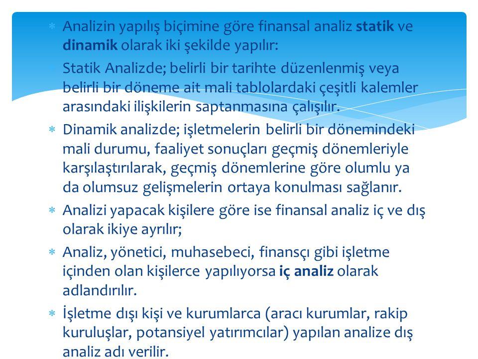  Analizin yapılış biçimine göre finansal analiz statik ve dinamik olarak iki şekilde yapılır:  Statik Analizde; belirli bir tarihte düzenlenmiş veya