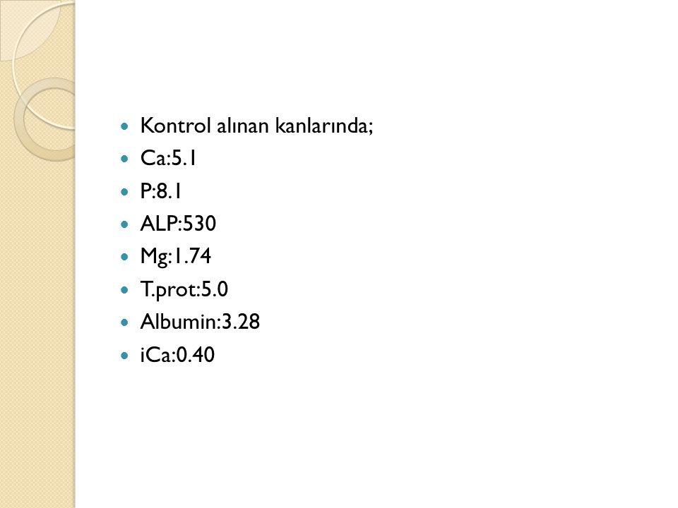 Kontrol alınan kanlarında; Ca:5.1 P:8.1 ALP:530 Mg:1.74 T.prot:5.0 Albumin:3.28 iCa:0.40