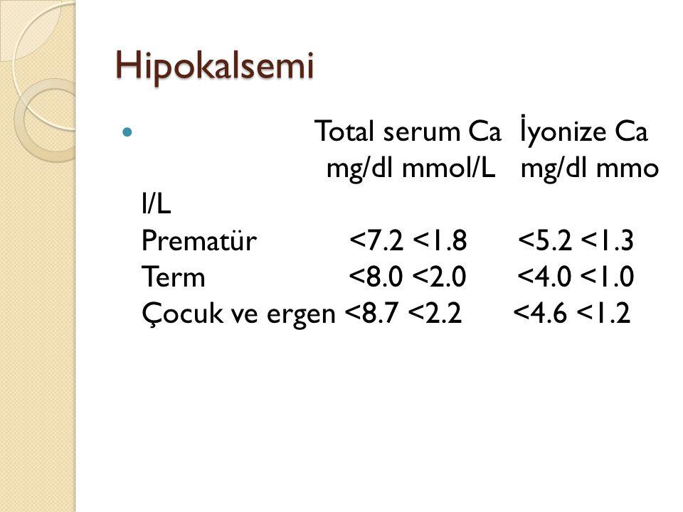 Hipokalsemi Total serum Ca İ yonize Ca mg/dl mmol/L mg/dl mmo l/L Prematür <7.2 <1.8 <5.2 <1.3 Term <8.0 <2.0 <4.0 <1.0 Çocuk ve ergen <8.7 <2.2 <4.6