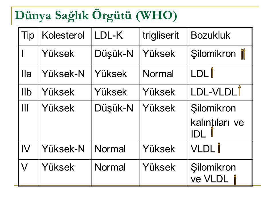 Dünya Sağlık Örgütü (WHO) TipKolesterolLDL-KtrigliseritBozukluk IYüksekDüşük-NYüksekŞilomikron IIaYüksek-NYüksekNormalLDL IIbYüksek LDL-VLDL IIIYüksek