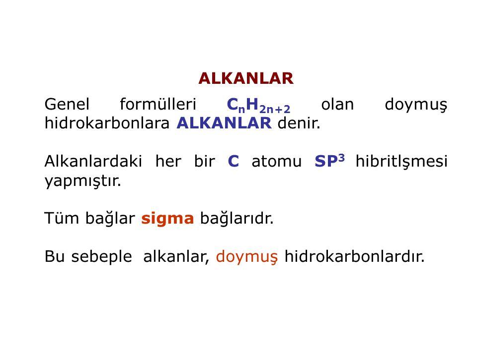 ALKANLAR Genel formülleri C n H 2n+2 olan doymuş hidrokarbonlara ALKANLAR denir. Alkanlardaki her bir C atomu SP 3 hibritlşmesi yapmıştır. Tüm bağlar