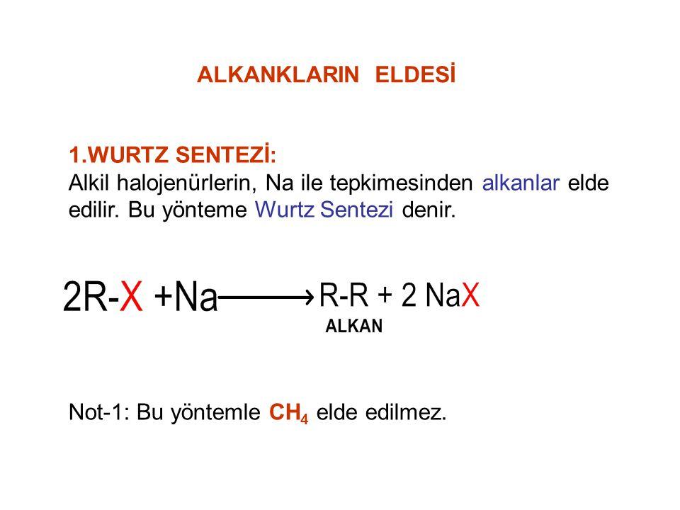 1.WURTZ SENTEZİ: Alkil halojenürlerin, Na ile tepkimesinden alkanlar elde edilir. Bu yönteme Wurtz Sentezi denir. Not-1: Bu yöntemle CH 4 elde edilmez