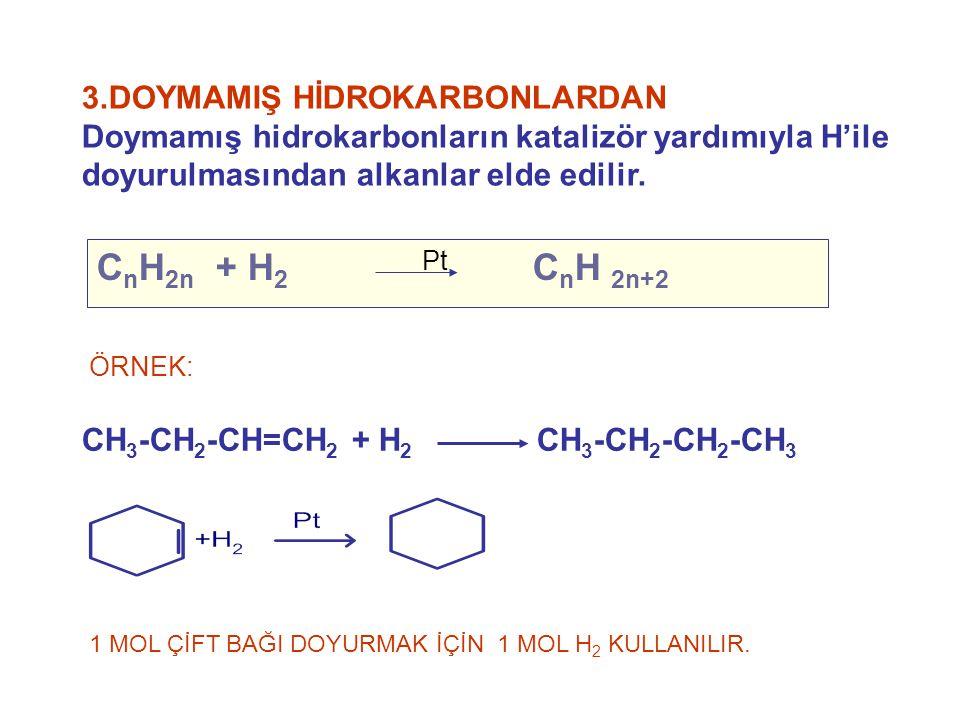 3.DOYMAMIŞ HİDROKARBONLARDAN Doymamış hidrokarbonların katalizör yardımıyla H'ile doyurulmasından alkanlar elde edilir. CH 3 -CH 2 -CH=CH 2 + H 2 CH 3