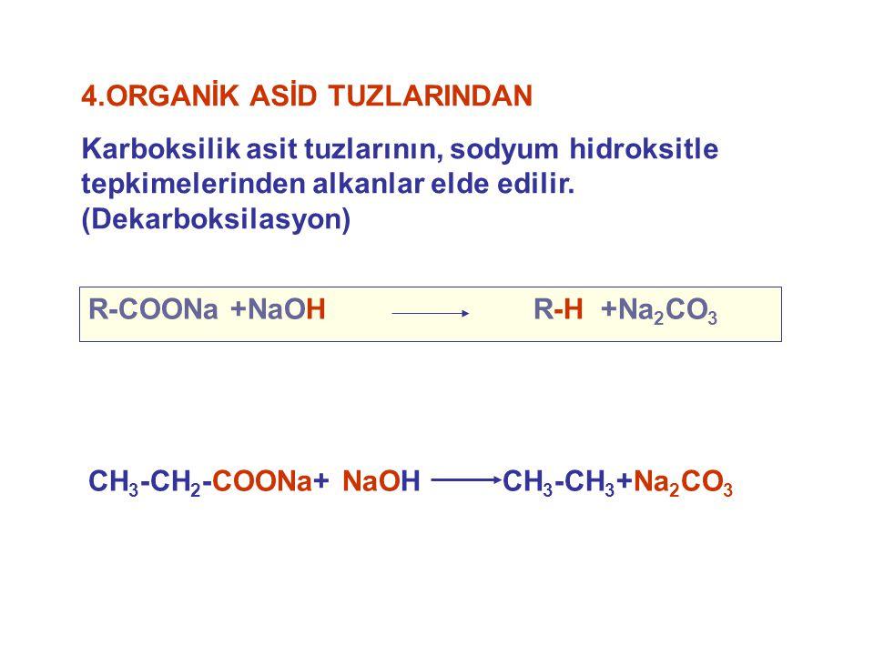 4.ORGANİK ASİD TUZLARINDAN Karboksilik asit tuzlarının, sodyum hidroksitle tepkimelerinden alkanlar elde edilir. (Dekarboksilasyon) R-COONa +NaOH R-H