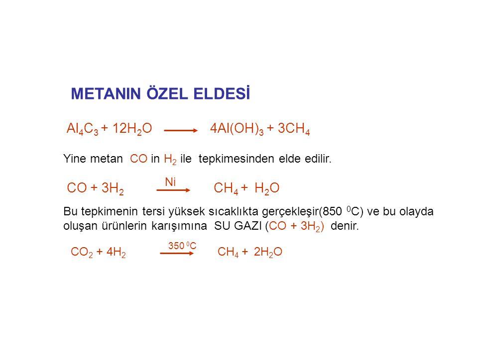 METANIN ÖZEL ELDESİ Yine metan CO in H 2 ile tepkimesinden elde edilir. Al 4 C 3 + 12H 2 O 4Al(OH) 3 + 3CH 4 CO + 3H 2 CH 4 + H 2 O Ni Bu tepkimenin t