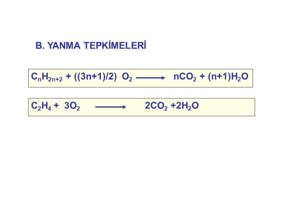 C n H 2n+2 + ((3n+1)/2) O 2 nCO 2 + (n+1)H 2 O C 2 H 4 + 3O 2 2CO 2 +2H 2 O B. YANMA TEPKİMELERİ
