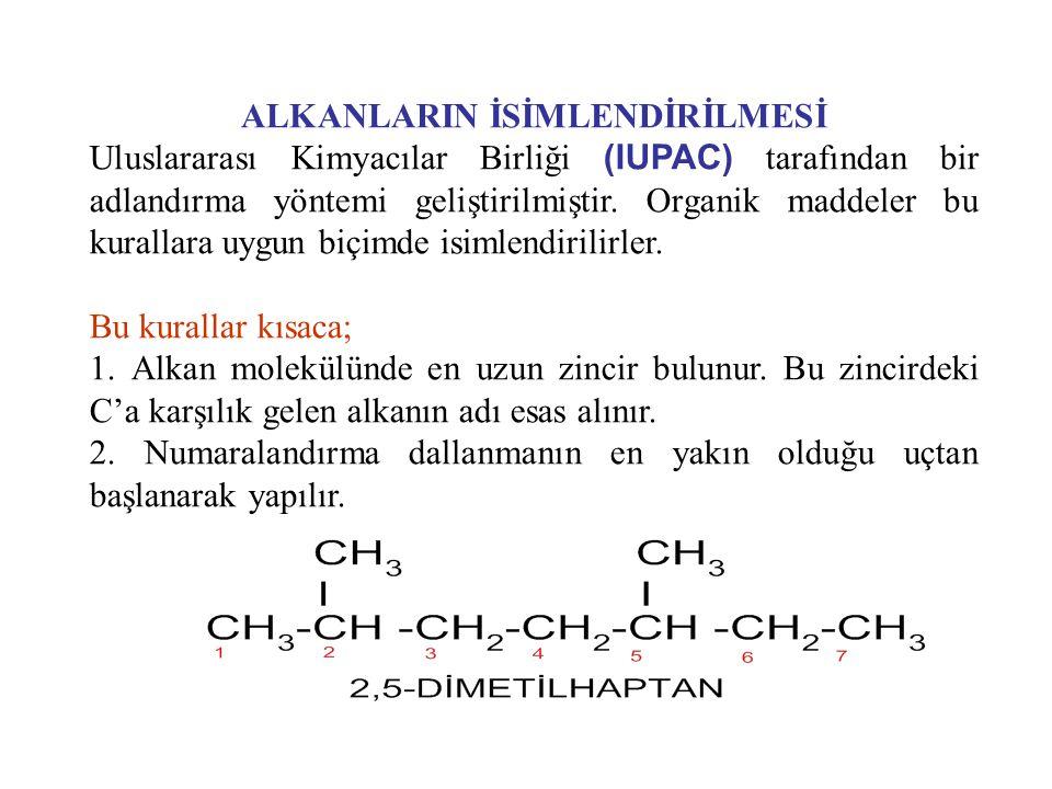 ALKANLARIN İSİMLENDİRİLMESİ Uluslararası Kimyacılar Birliği (IUPAC) tarafından bir adlandırma yöntemi geliştirilmiştir. Organik maddeler bu kurallara