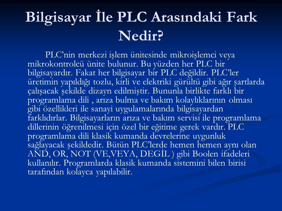 Bilgisayar İle PLC Arasındaki Fark Nedir? PLC'nin merkezi işlem ünitesinde mikroişlemci veya mikrokontrolcü ünite bulunur. Bu yüzden her PLC bir bilgi