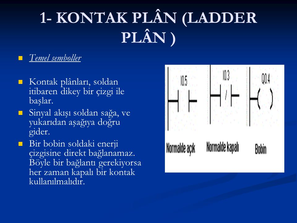 1- KONTAK PLÂN (LADDER PLÂN ) Temel semboller Kontak plânları, soldan itibaren dikey bir çizgi ile başlar. Sinyal akışı soldan sağa, ve yukarıdan aşağ
