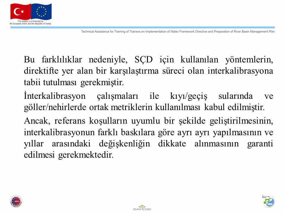 Bu farklılıklar nedeniyle, SÇD için kullanılan yöntemlerin, direktifte yer alan bir karşılaştırma süreci olan interkalibrasyona tabii tutulması gerekmiştir.