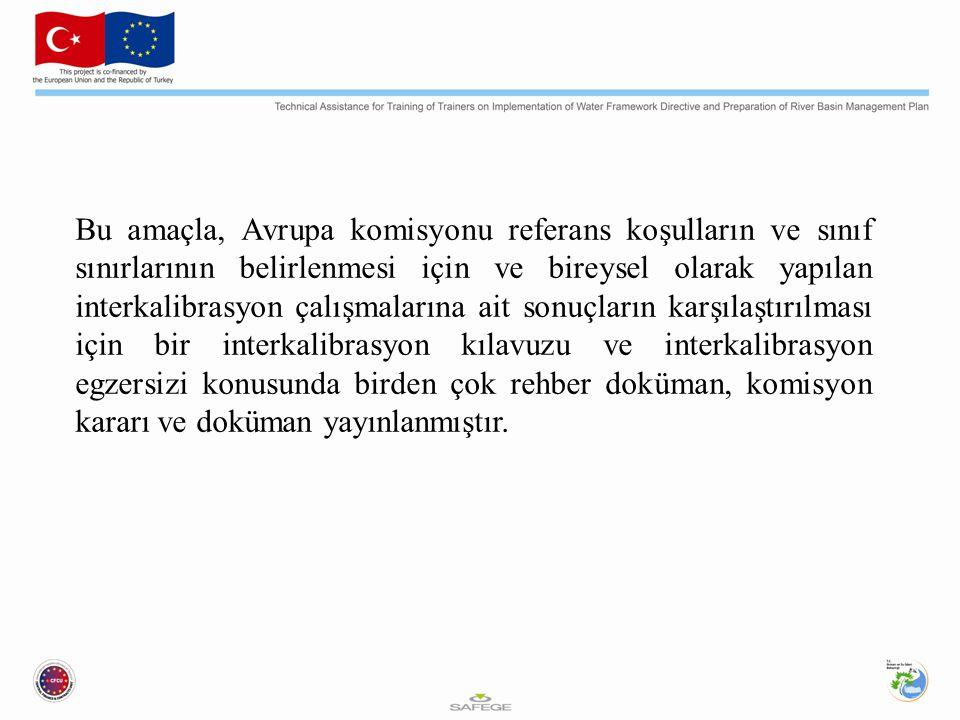 Bu amaçla, Avrupa komisyonu referans koşulların ve sınıf sınırlarının belirlenmesi için ve bireysel olarak yapılan interkalibrasyon çalışmalarına ait sonuçların karşılaştırılması için bir interkalibrasyon kılavuzu ve interkalibrasyon egzersizi konusunda birden çok rehber doküman, komisyon kararı ve doküman yayınlanmıştır.