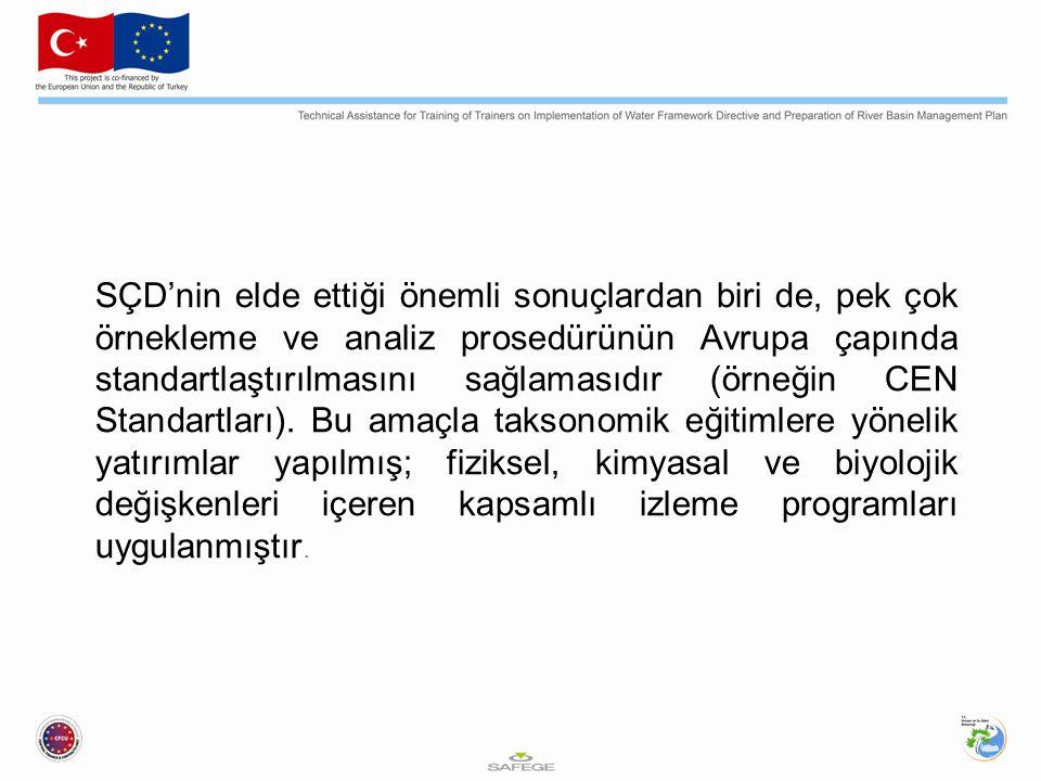 SÇD'nin elde ettiği önemli sonuçlardan biri de, pek çok örnekleme ve analiz prosedürünün Avrupa çapında standartlaştırılmasını sağlamasıdır (örneğin CEN Standartları).