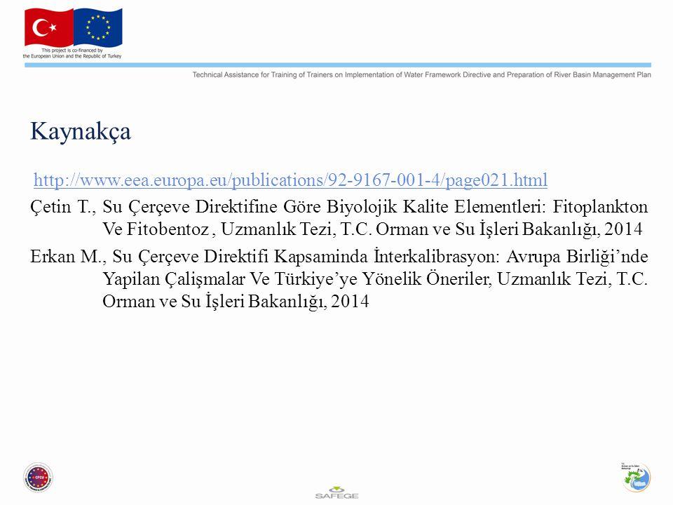 Kaynakça http://www.eea.europa.eu/publications/92-9167-001-4/page021.html Çetin T., Su Çerçeve Direktifine Göre Biyolojik Kalite Elementleri: Fitoplankton Ve Fitobentoz, Uzmanlık Tezi, T.C.