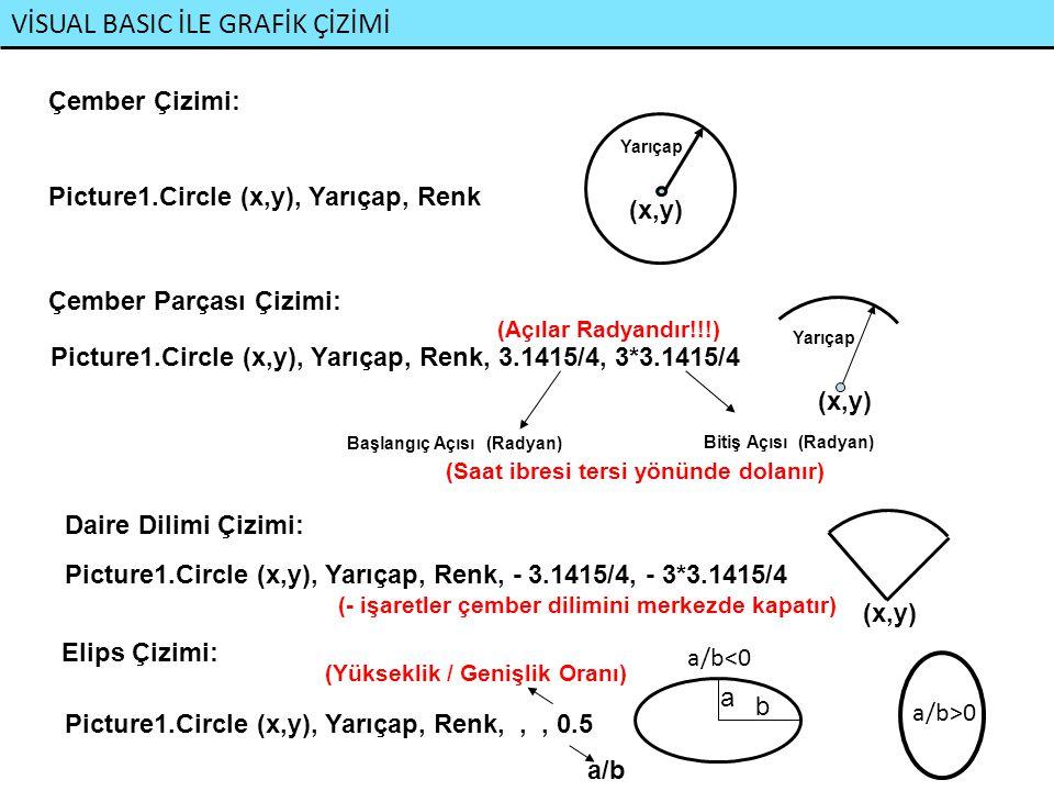 VİSUAL BASIC İLE GRAFİK ÇİZİMİ Çember Çizimi: Picture1.Circle (x,y), Yarıçap, Renk (x,y) Yarıçap Picture1.Circle (x,y), Yarıçap, Renk, 3.1415/4, 3*3.1