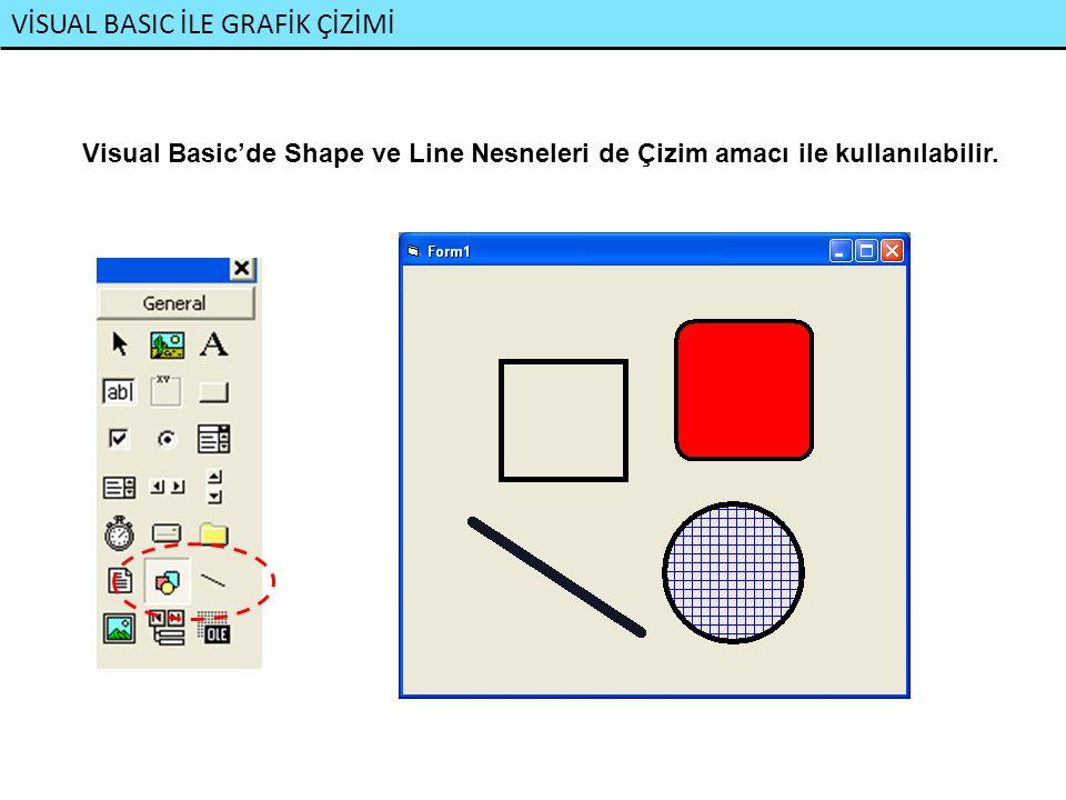 VİSUAL BASIC İLE GRAFİK ÇİZİMİ Visual Basic'de Shape ve Line Nesneleri de Çizim amacı ile kullanılabilir.