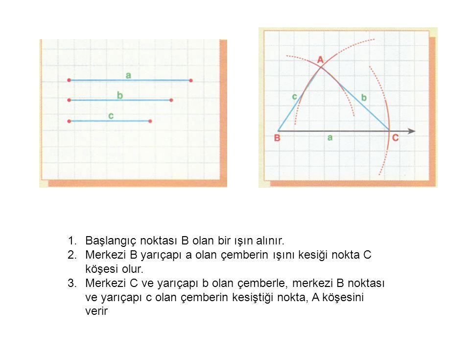 1.Başlangıç noktası B olan bir ışın alınır.