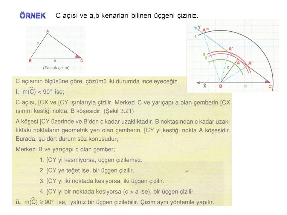 C açısı ve a,b kenarları bilinen üçgeni çiziniz.