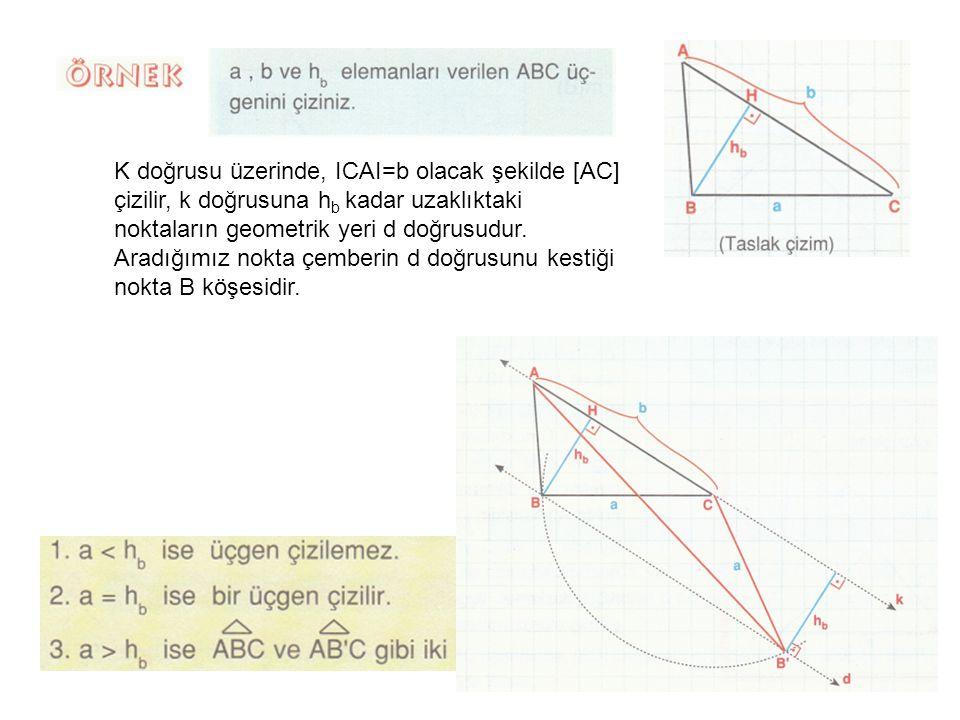 K doğrusu üzerinde, ICAI=b olacak şekilde [AC] çizilir, k doğrusuna h b kadar uzaklıktaki noktaların geometrik yeri d doğrusudur.