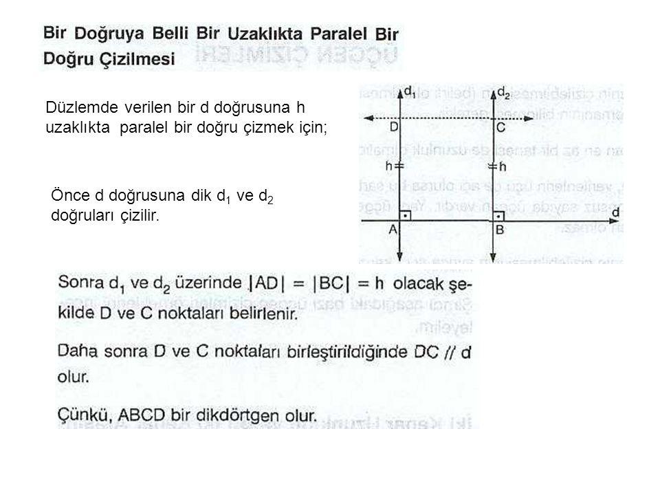 Düzlemde verilen bir d doğrusuna h uzaklıkta paralel bir doğru çizmek için; Önce d doğrusuna dik d 1 ve d 2 doğruları çizilir.