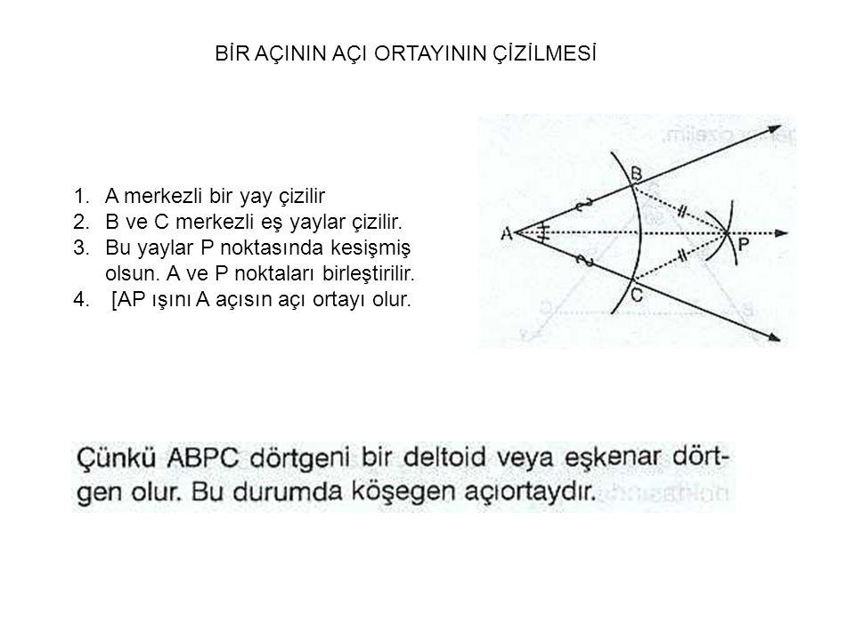 BİR AÇININ AÇI ORTAYININ ÇİZİLMESİ 1.A merkezli bir yay çizilir 2.B ve C merkezli eş yaylar çizilir.